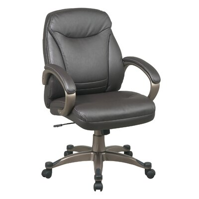 Office Star Products Back Leather Deluxe Faux Executive Chair with Coated Frame and Padded Arms