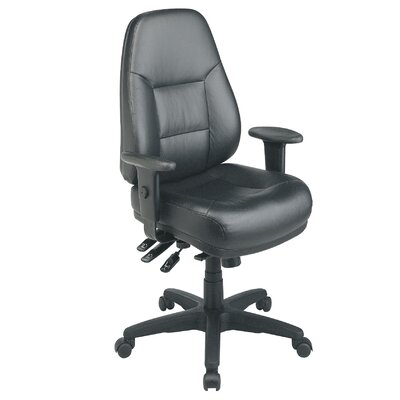 Office Star Products Deluxe Multi Function Mid-Back Leather Executive Chair with Arms