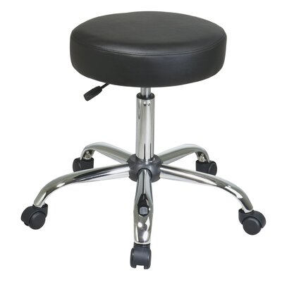 Office Star Products Chrome Finish Backless Drafting Chair with Vinyl Seat
