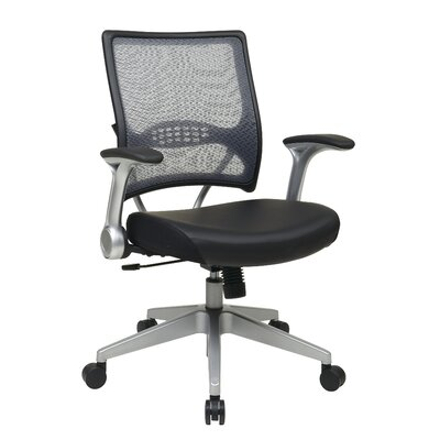 Office Star Products Air Grid Back Eco Leather Conference Chair with Flip Arms