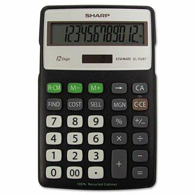 Sharp EL-R287BBK Recycled Series Calculator w/Kick-stand, 12-Digit, LCD, Black