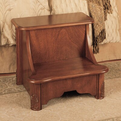 Powell Furniture Woodbury Mahogany 2-Step Manufactured Wood Bed Step Stool with 200 lb. Load Capacity
