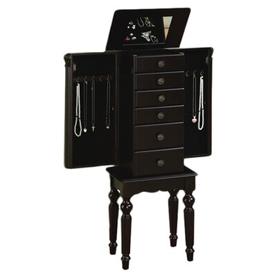 Powell Furniture Antique Black Petite Ebony Jewelry Armoire with Mirror