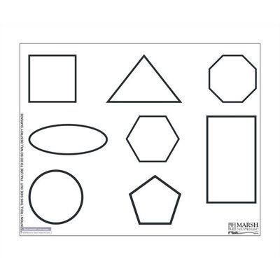 Marsh Dry-Erase Teaching Aides Mat - Shapes Graphic Magnetic Whiteboard, 1' x 2'