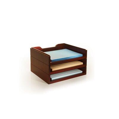 Bindertek Stacking Wood Desk Organizers, 3 Letter Tray Kit