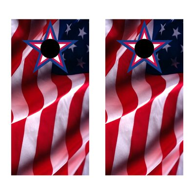Country United States Flag with Star Cornhole Game Set by Victory Tailgate