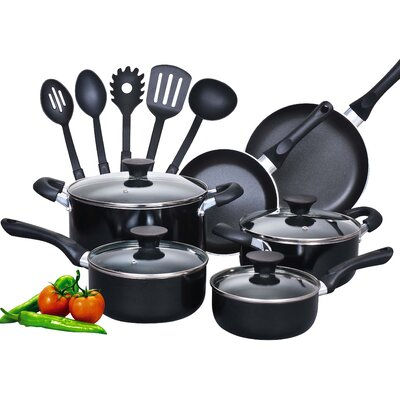 15 Piece Soft Handle Nonstick Cookware Set by Cook N Home