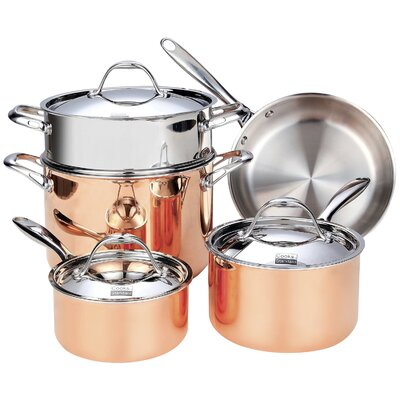 Multi-Ply Clad Copper 8 Piece Cookware Set by Cooks Standard