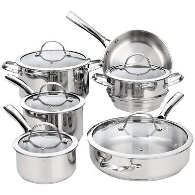 11 Piece Classic Stainless Steel Cookware Set by Cooks Standard