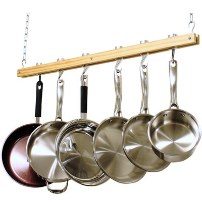 Ceiling Mounted Wooden Pot Rack by Cooks Standard