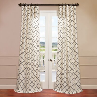 Pavillion Flocked Faux Silk Single Curtain Panel Product Photo