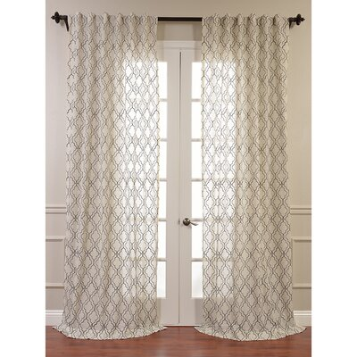 Saida Embroidered Faux Linen Sheer Single Curtain Panel Product Photo