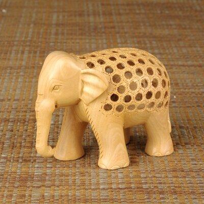 Miami Mumbai Wood Carvings Jali Elephant Figurine