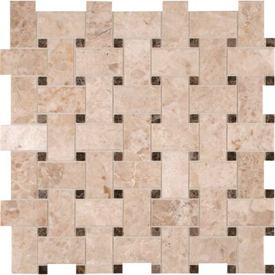 Basket Weave Random Sized Natural Stone Mosaic Tile in Crema Cappuccino by MSI