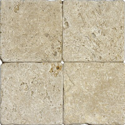 "MS International Tuscany Walnut 6"" x 6'' Travertine Mosaic Tile in Tumbled Brown"
