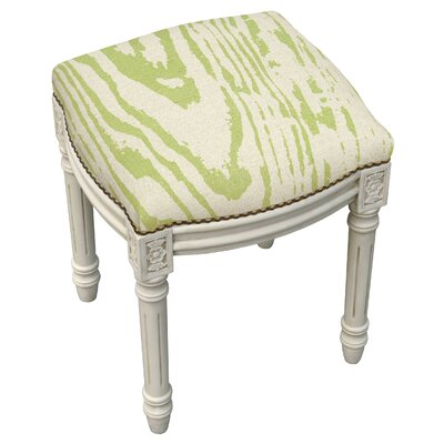 Graphic Faux Bois Linen Upholstered Vanity Stool by 123 Creations