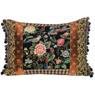123 Creations Canton Floral Petit Point Wool Lumbar Pillow