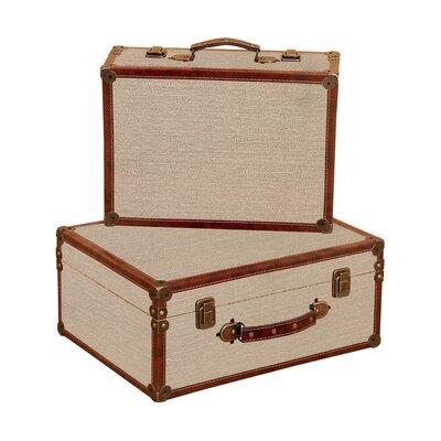 Aspire Burlap 2 Piece Decorative Suitcase Set