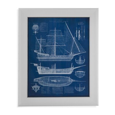 Antique Ship Blueprint I Framed Painting Print by Bassett Mirror