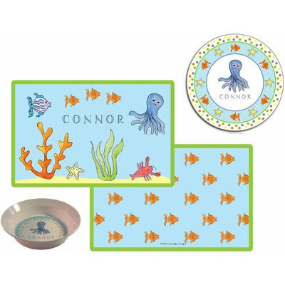 The Kids Tabletop 3 Piece Under The Sea Placemat Set by Kelly Hughes Designs