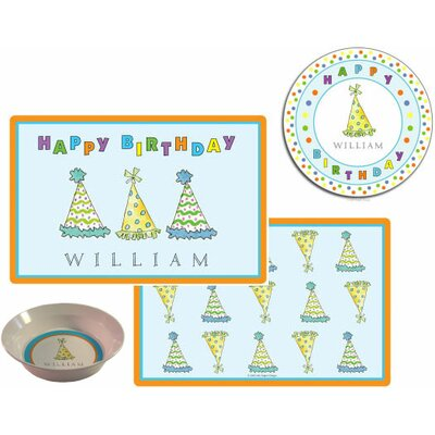 The Kids Tabletop 3 Piece Party Hats Placemat Set by Kelly Hughes Designs