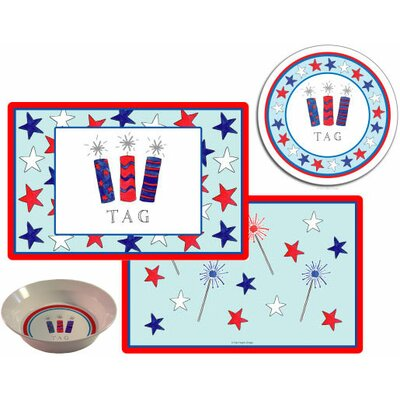 The Kids Tabletop 3 Piece Firecrackers Placemat Set by Kelly Hughes Designs