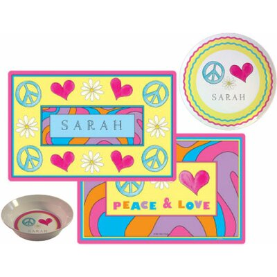 The Kids Tabletop 3 Piece Peace Love Eat Setting Placemat by Kelly Hughes Designs