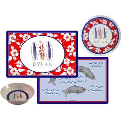 The Kids Tabletop 3 Piece Surfer Dude Setting Placemat by Kelly Hughes Designs