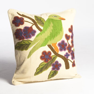 Crewel Bird Embroidery Wool Throw Pillow by Abigails