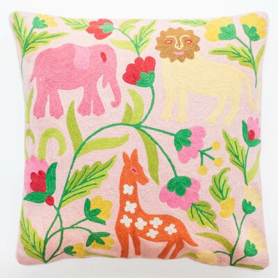 Crewel Pastel Jungle Embroidery Wool Throw Pillow by Abigails
