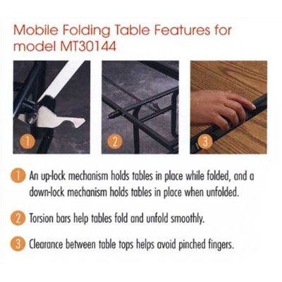 """Virco Rectangular Mobile Duofold Table with T-mold Edge (30"""" x 96"""")"""