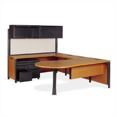 Virco Plateau Series U-Shape Computer Desk with Hutch and Pedestal