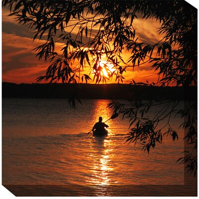 West of the Wind Outdoor Canvas Art Kayak Sunset Wrapped Photographic Print on Canvas