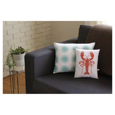 Artgoodies Lobster Block Print Squillow Accent Cotton Throw Pillow