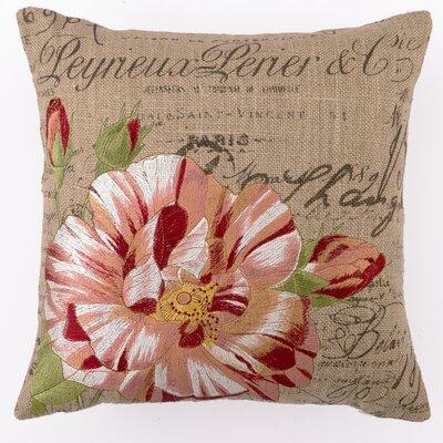 D.L. Rhein Embroidered Candystripe Rose Linen Throw Pillow