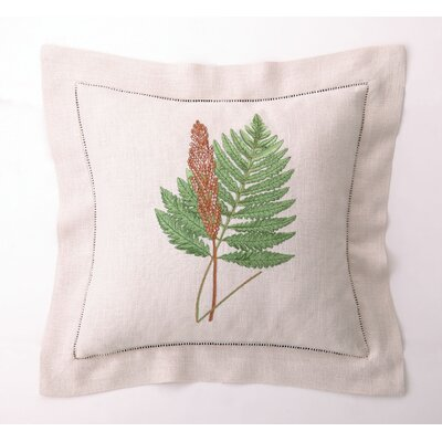 D.L. Rhein Embroidered Fern Leaves IV Linen Throw Pillow