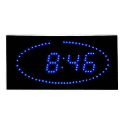 Super Bright LED Ellipse Blue LED DOT Clock by Big Time Clocks
