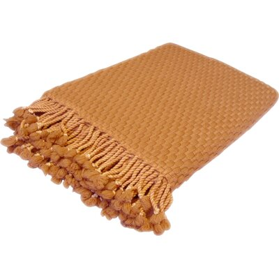 Peach Couture Basketweave 100% Cashmere Throw with Tassels