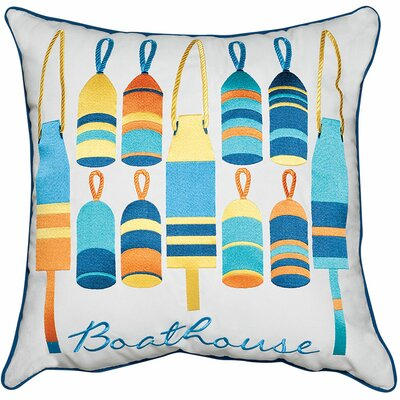 Lake Retreat Buoys and Boathouse Outdoor Sunbrella Throw Pillow by Rightside Design