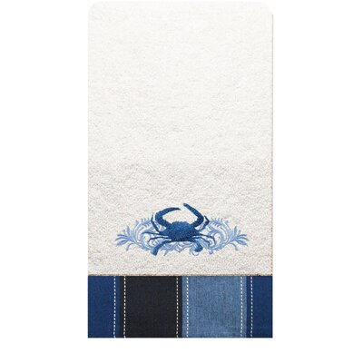 Rightside Design I Sea Life Embroidered Crab Hand Towel