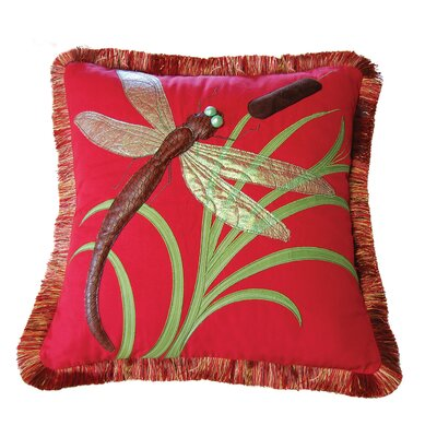 I Sea Life Dragonflies and Cattails Cotton Throw Pillow by Rightside Design
