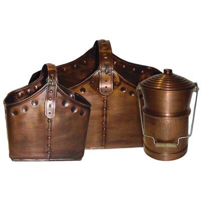 Deeco 3 Piece Copper Cauldron & Basket Set