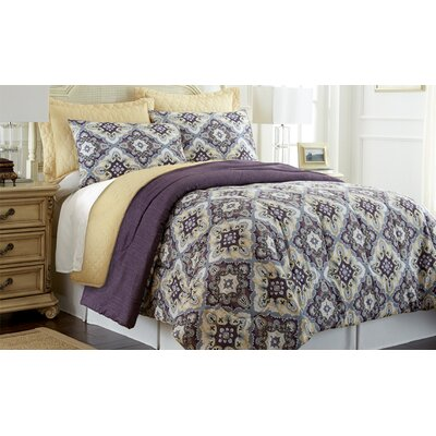 Zoie 6 Piece Reversible Comforter Set in Purple, Gray, Brown & Yellow by Amrapur