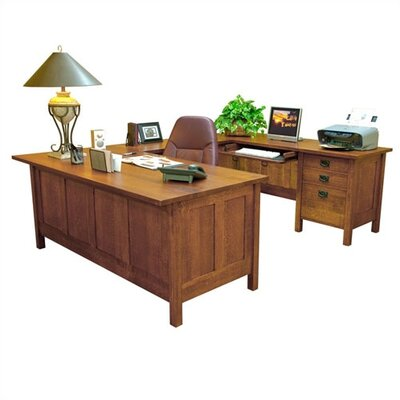 Anthony Lauren Craftsman Home Office Executive Desk with Return