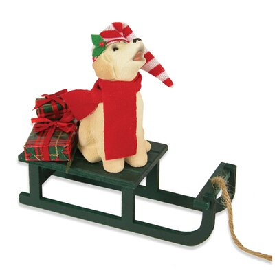 Byers' Choice Dog with Sled Figurine