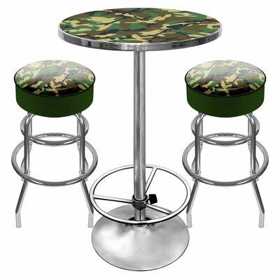 Trademark Global Hunt Camo Game Room 3 Piece Pub Table Set