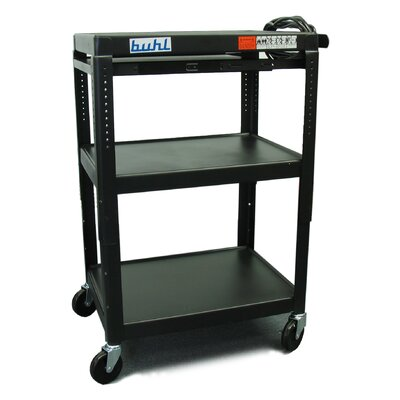 Buhl Height Adjustable AV Cart with 3 Stationary Shelves