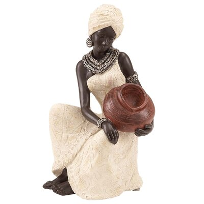 Woodland Imports Polystone African Woman Figurine