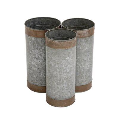Woodland Imports Attractive 3 Piece Round Pot Planter Set