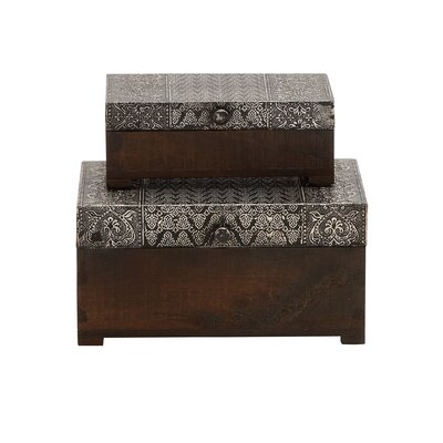 Woodland Imports The Beautiful 2 Piece Wood Metal Foil Box Set
